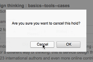 Dialog box for canceling a hold - before