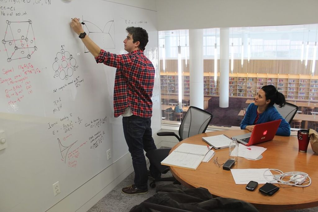 Students working in the group study room, Hunt Library