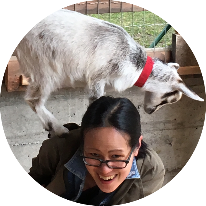 Photo of a baby goat perched on the back of a delighted woman