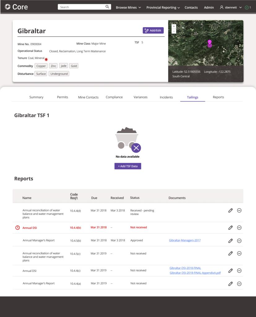 Screenshot of Core mine management software, showing old tab-based navigation design.