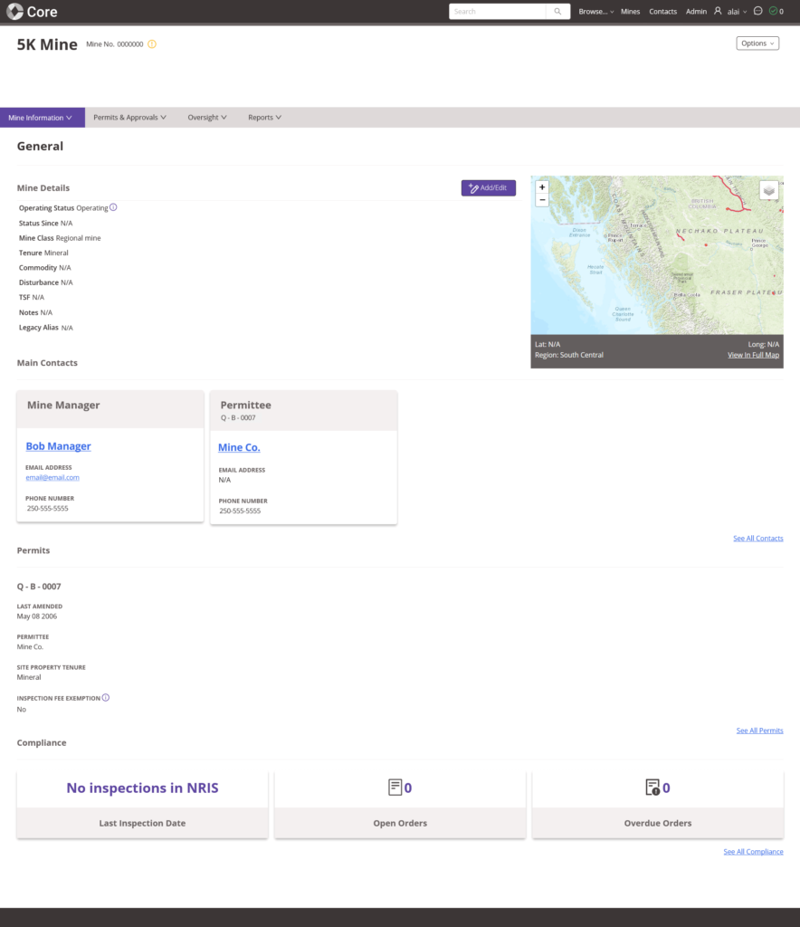 Screenshot of Core mine management software, showing general mine information page.