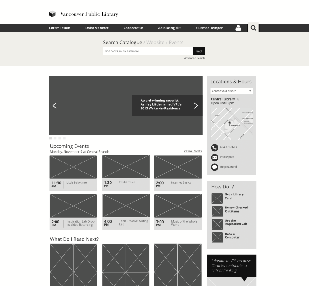 Cropped screenshot of a black and white wireframe for the Vancouver Public Library home page.