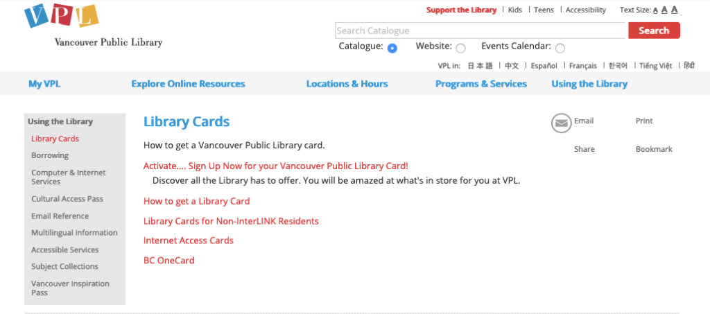 """Screenshot of the old Vancouver Public Library website's """"Library Cards"""" page, with 5 red hyperlinks to """"Activate - Sign Up Now for your Vancouver Public Library Card"""", """"How to Get a Library Card"""", """"Library Cards for Non-InterLINK Residents"""", """"Internet Access Cards"""", and """"BC OneCard"""""""